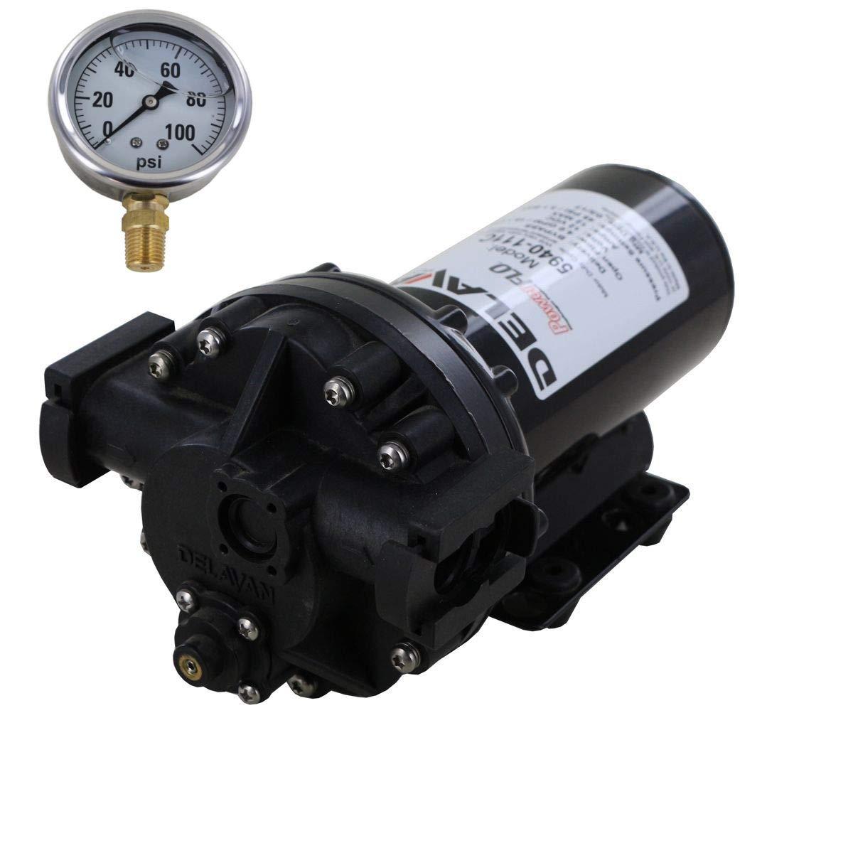 Delavan 5940-111C PowerFlo 12V Bypass Diaphragm Pump with 100 PSI Pressure Gauge (Bundle, 2 Items)