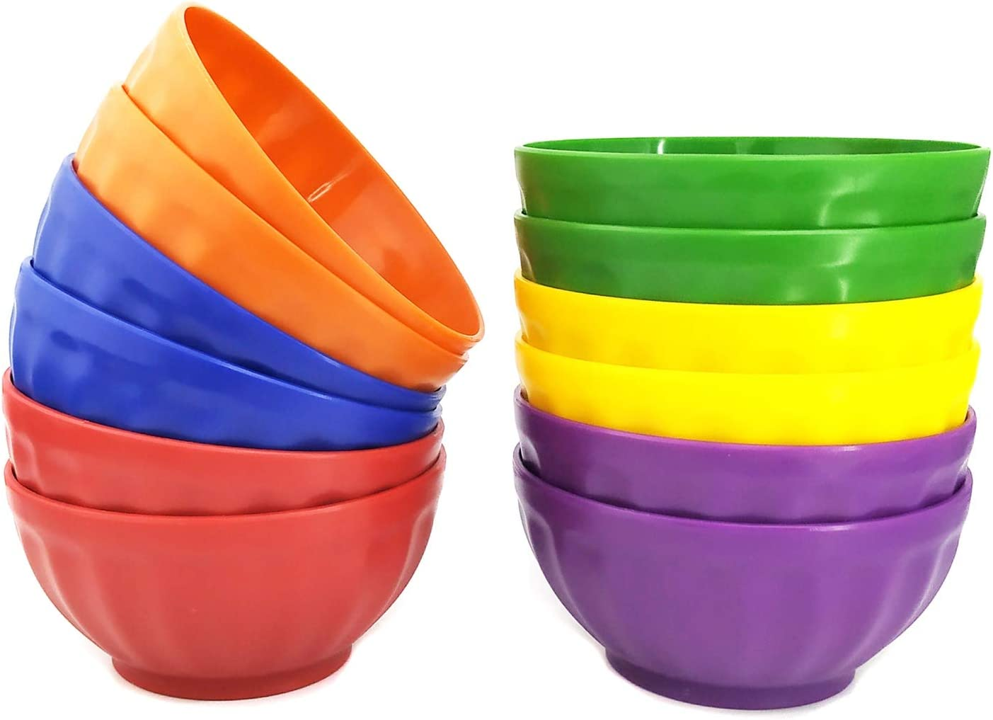 Unbreakable 28-ounce Plastic Bowls Salad Bowls Cereal Bowls, Set of 12 Multicolor - Dishwasher safe, BPA Free