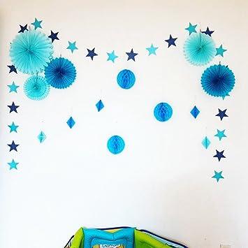 Juego de color azul (color rosa) estrella guirnalda Honeycomb Balls ...