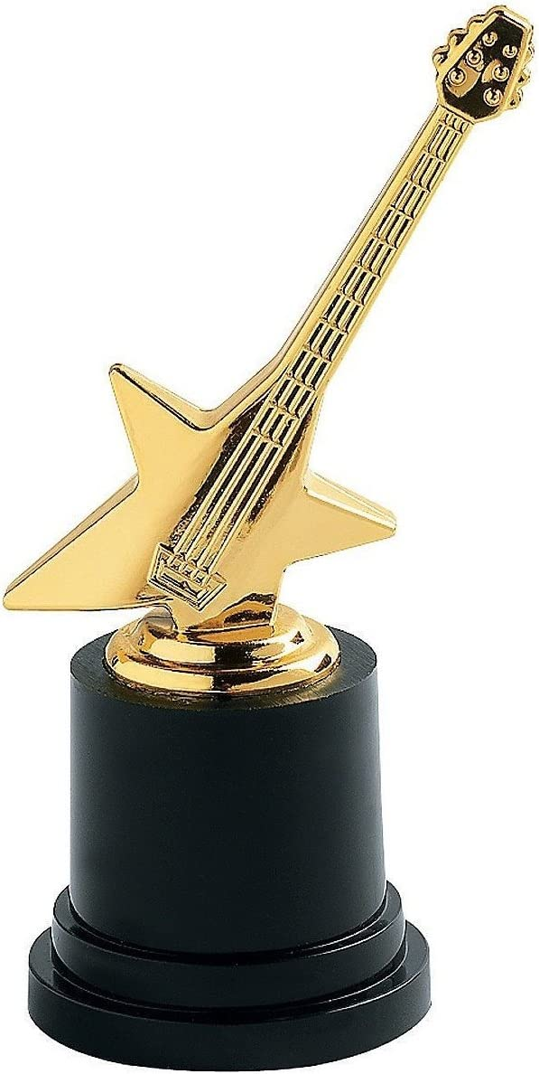 Amazon Com Plastic Rock Star Trophies 12 Pack Great Music Award Toys Games