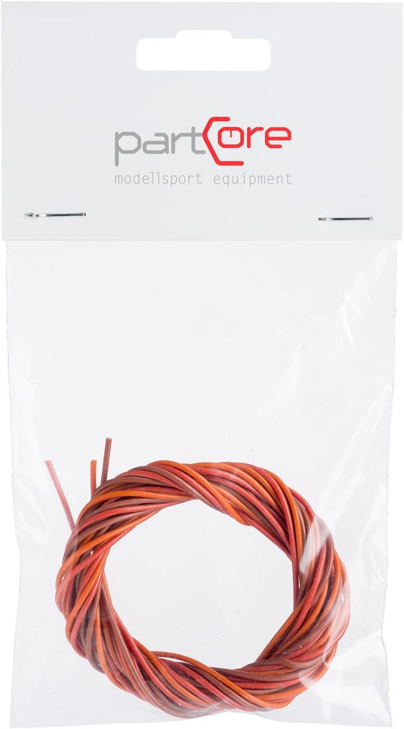 PVC Servolitze 3-adrig verdrillt JR Graupner 0.34 qmm 88 x 0.07 mm hochflexibel braun rot orange partCore 1000 mm 110060