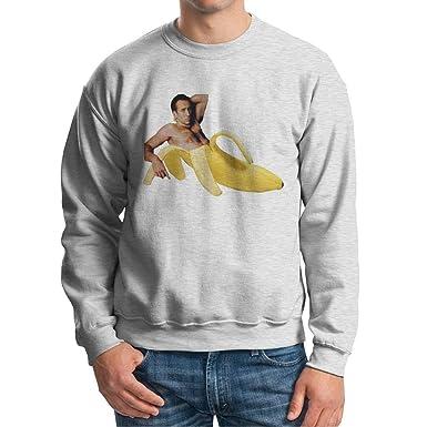 Visual Basics Nicolas Cage In Banana Sudadera/Sweatshirt - Gris - Large: Amazon.es: Ropa y accesorios