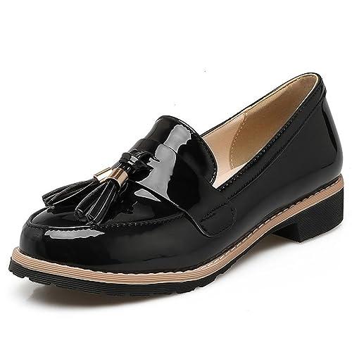 Kaloosh Women's Sweet Leisure Patent Leather Tassel Shoes Block Low Heel Penny Loafers 4vwuOYDO