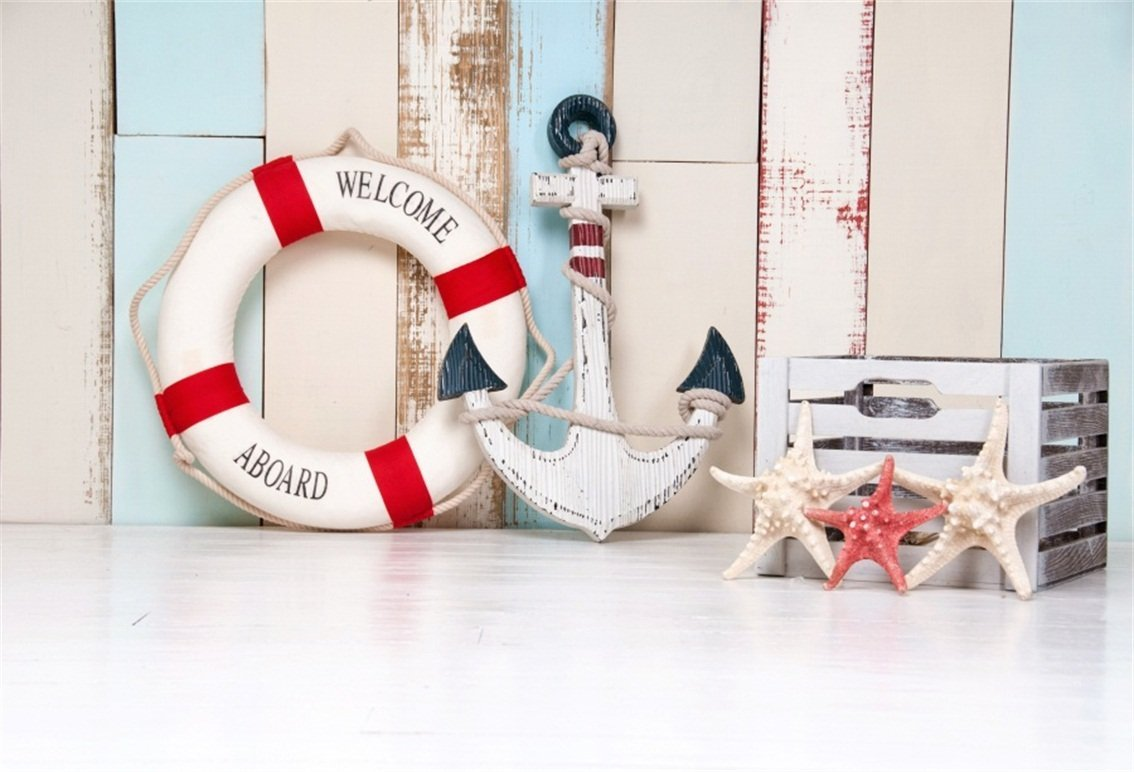 CSFOTO 5x3ft Background for Lifebuoy Anchor Starfish Nautical Themed Photography Backdrop Children Birthday Party Summer Holiday Rustic Wood Board Child Kid Photo Studio Props Polyester Wallpaper