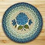 15.5in. x 15.5in. Blue Hydrangea Round Chair Pad - Set of 4