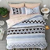 WarmGo Duvet Cover Set with Zipper Closure India Pattern Design Bedding Set Twin 3 Piece (1 Duvet Cover + 1 Flat Sheet + 1 Pillow Sham)- 100% Cotton Ultra Soft Hypoallergenic