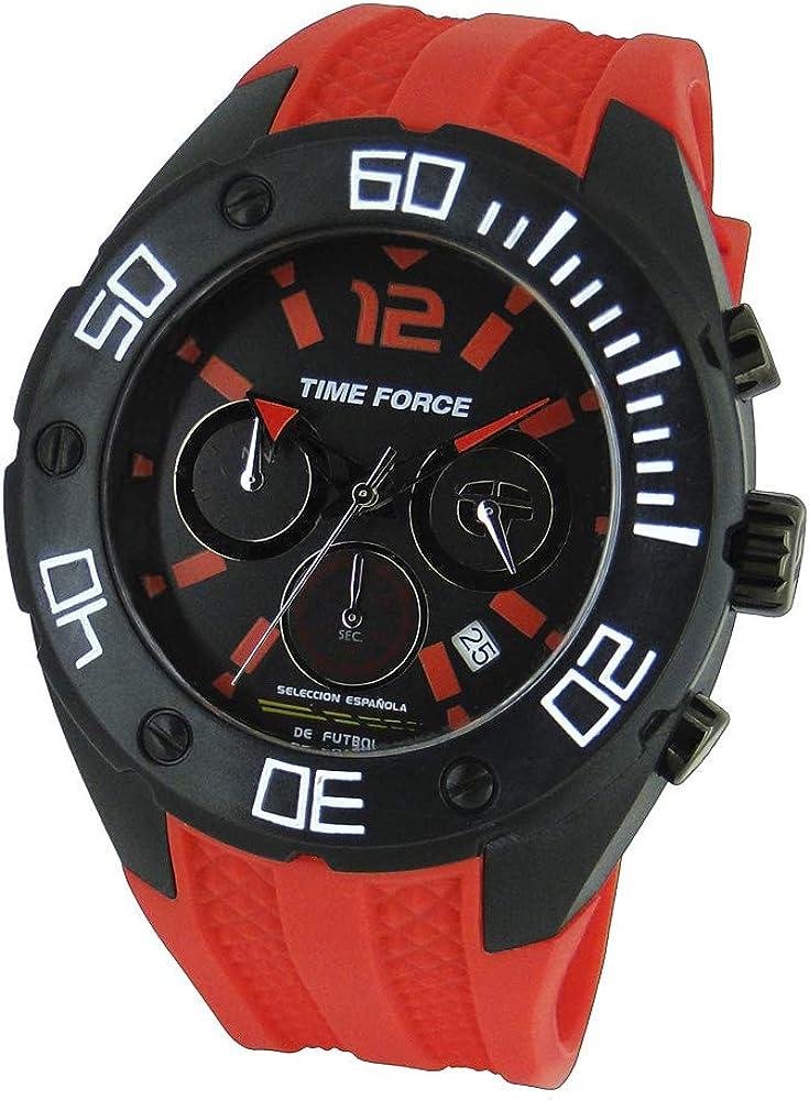 TIME FORCE Reloj Cronógrafo para Hombre de Cuarzo con Correa en Caucho TF-4145M14: Amazon.es: Relojes