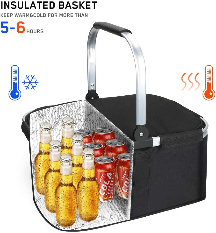Family Vacations Picnicking Shopping Waterproof Lining Insulated Foldable Picnic Basket with Aluminium Handle Global-store Large Picnic Basket Easy Storage Design for Travel Camping Lake Trips