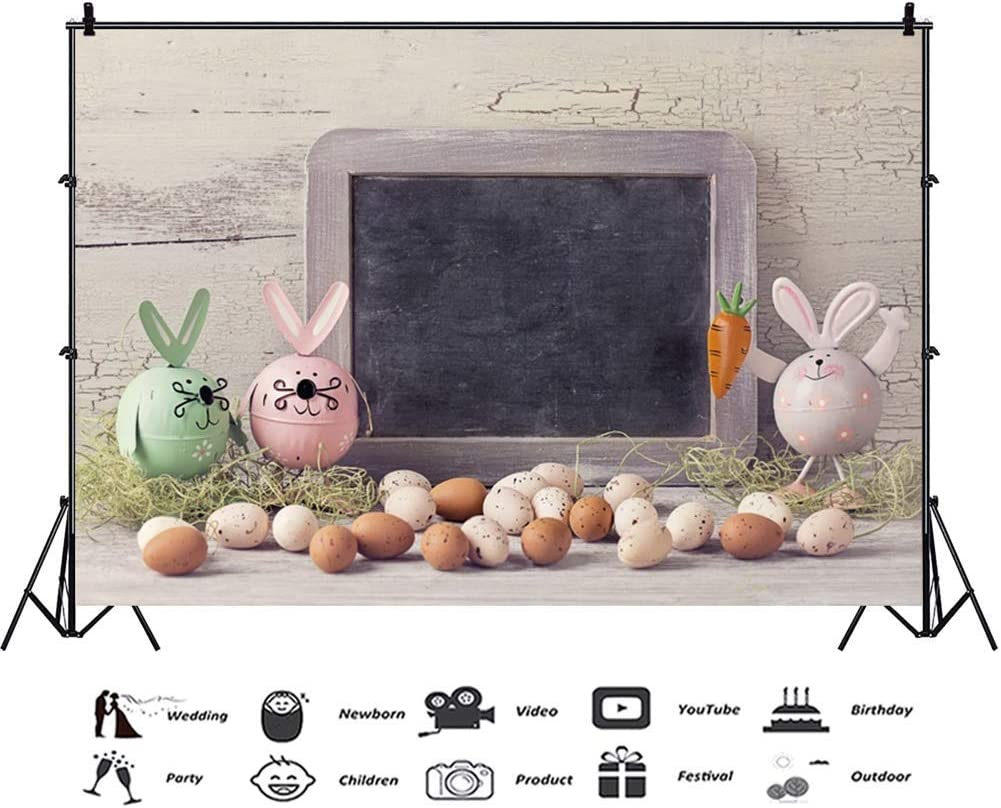 GoEoo Easter 10x7ft Vinyl Photography Background Cute Artifact Easter Bunnies Eggs Small Blackboard Crackled Wooden Wall Backdrop Community Easter Egg Hunt Day Banner Wallpaper Studio Props