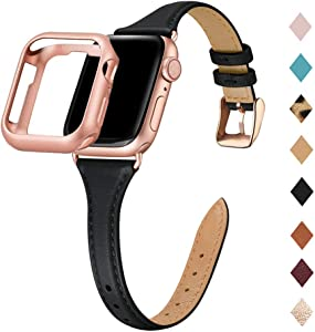 Bestig Leather Band Compatible for Apple Watch 38mm 40mm 42mm 44mm, Slim Thin Genuine Leather Replacement Strap for iWatch Series 6 SE 5 4 3 2 1 (Black Band+Rosegold Adapter, 38mm 40mm)