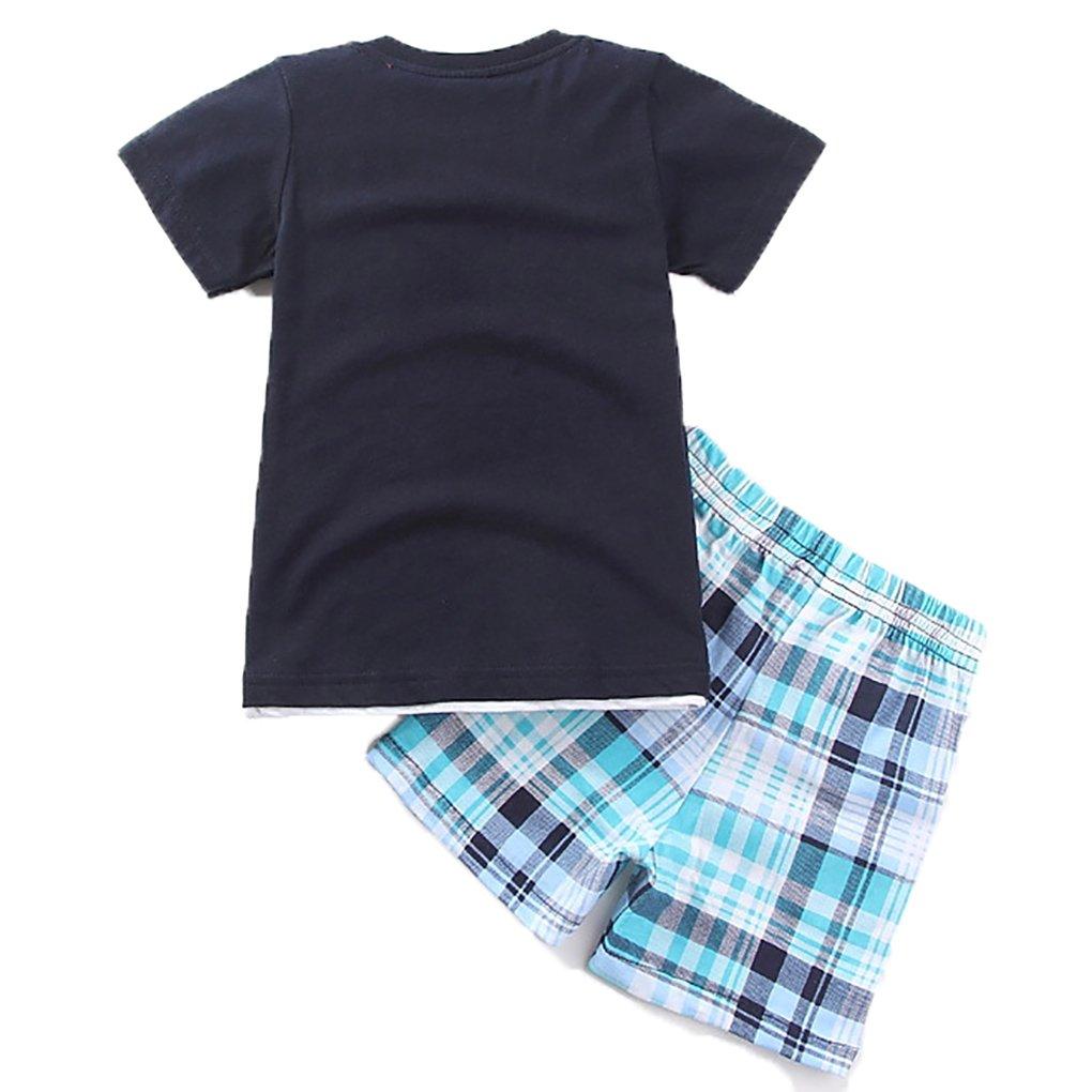 Captain Meow Baby Boys Short Sleeves Infant Clothing Set T-Shirt and Pants Dinosaur