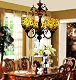 Makenier Vintage Tiffany Style Stained Glass Rose Flower Shade 3 Arms Chandelier Review