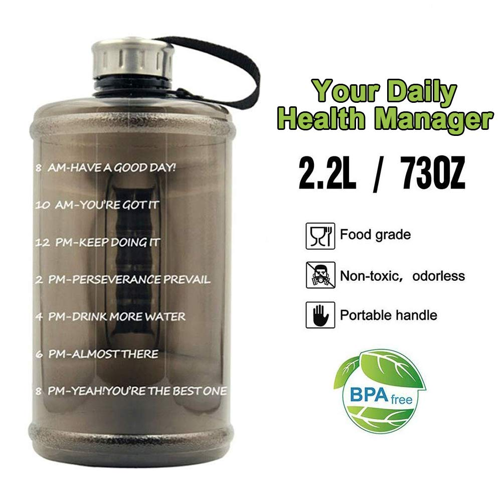 2.2L BPA Free Motivational Courage Water Jug for Sport and Fitness 74 Oz IngJa Water Bottle with Time Marker