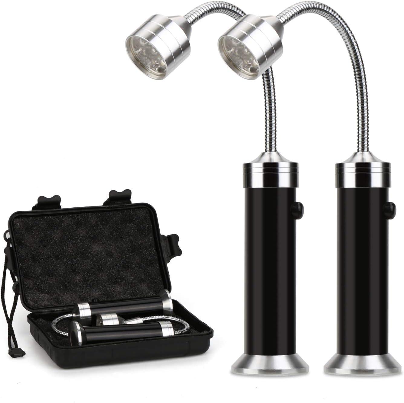 Mitening 2 Pcs Luz de Parrilla Magnética, Parrilla LED Luces con Base Magnética, 360 Grados Rotación, Ajustable, Flexible Cuello, para Exteriores, Barbacoa, Camping, Fiesta, Leer, BBQ ect (Negro)
