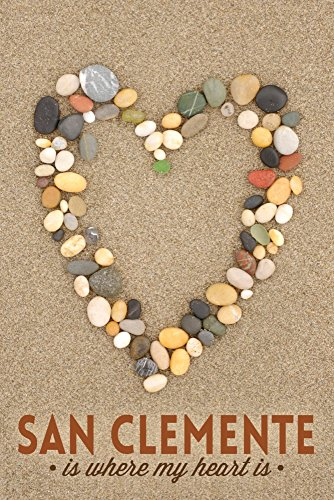 San Clemente Is Where My Heart Is - California - Stone Heart on Sand (24x36 SIGNED Print Master Giclee Print w/ Certificate of Authenticity - Wall Decor Travel - California Clemente San Is Where