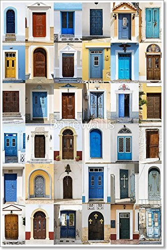 Collage Of 36 Colourful Front Doors From Karpathos. Paper Print Wall Art (54in. x 36in.)