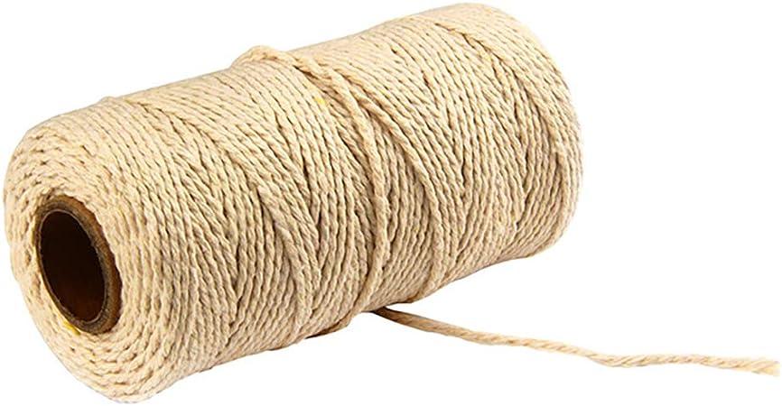 Vkospy Algodón Cuerda Cuerda del algodón Artesanía Macrame cordón de algodón Artisan Cadena Sólido Color de la Cuerda del Hilo de algodón Textiles para el hogar 91, 5m, Beige: Amazon.es