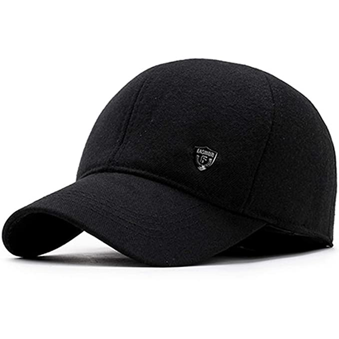 Men Snapback Baseball Cap Earflaps Dad Hats for Men Gorras Thicken Warm Winter Hat Black