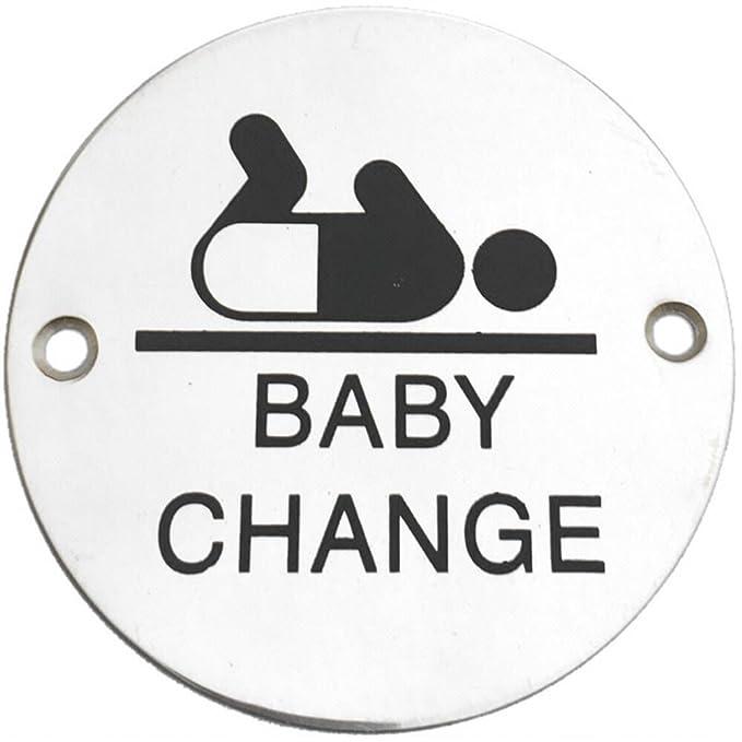 Door Sign 75mm /'Baby Change/' Satin Stainless Steel Screen Printed