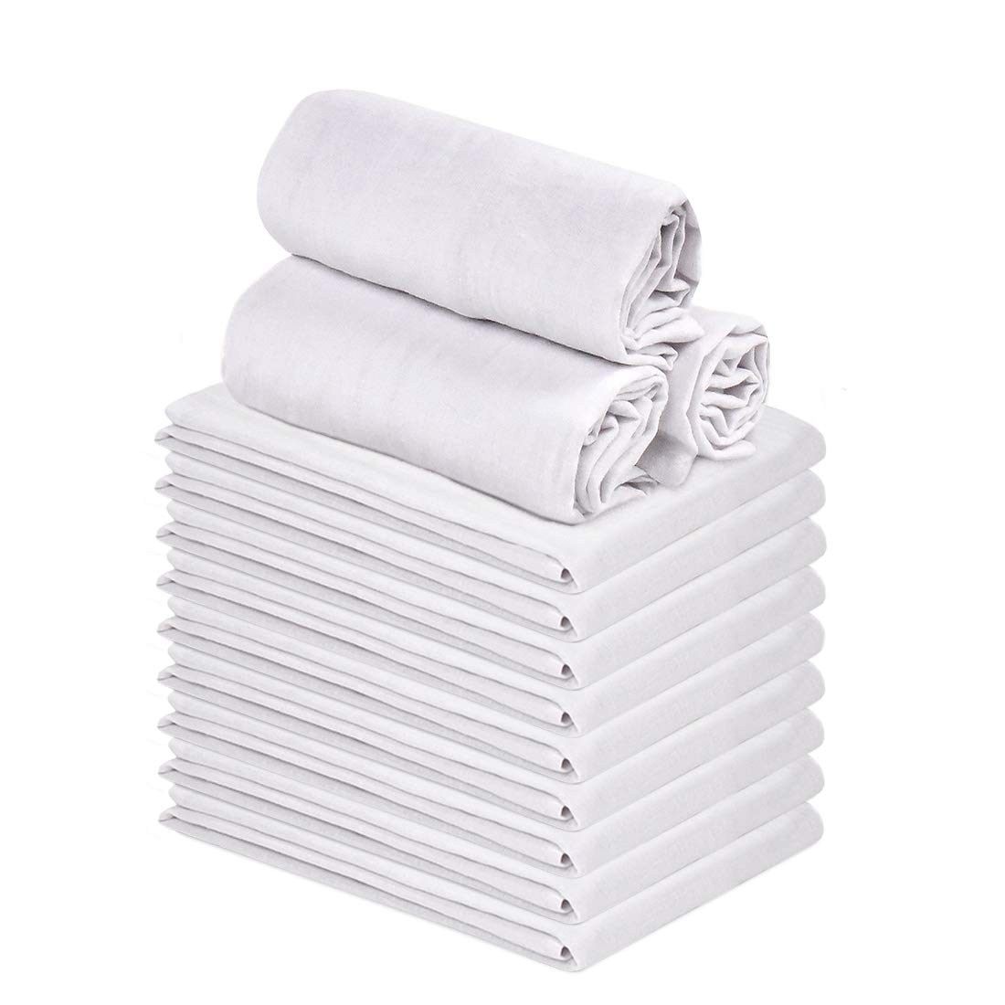 Talvania Classic White Flour Sack Towels - 12-Pack of 100% Ring Spun Cotton Home Kitchen Dish Towel. Soft Absorbent Dish Towels - Lint Free Measures 28'' X 28'' Tea Towel by Talvania