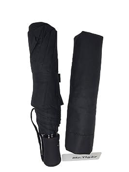Tigèr De Fibra de Carbono de Alta Densidad Automática UV Grande Paraguas - Negro