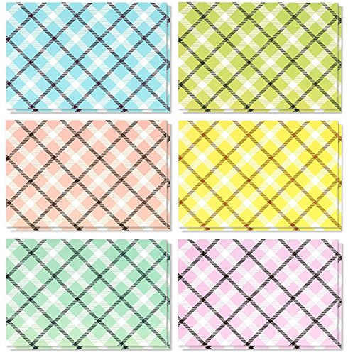 48 Pack All Occasion Greeting Cards Bulk - Colorful Picnic Blanket Pattern Gingham Designs - Note Cards Boxed Set With White Envelopes - Blank on the Inside - 4 x 6 Inches (Gingham Card)