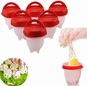 Egg Cooker Silicone, Egg Cooker Without Shell Easy Eggs, Non Stick Silicone Boiled Steamer Eggies, Maker Egg Cooker BPA Free Non-Stick Eggs Poacher, Fast Poaching For Kitchen Gadgets Accessories