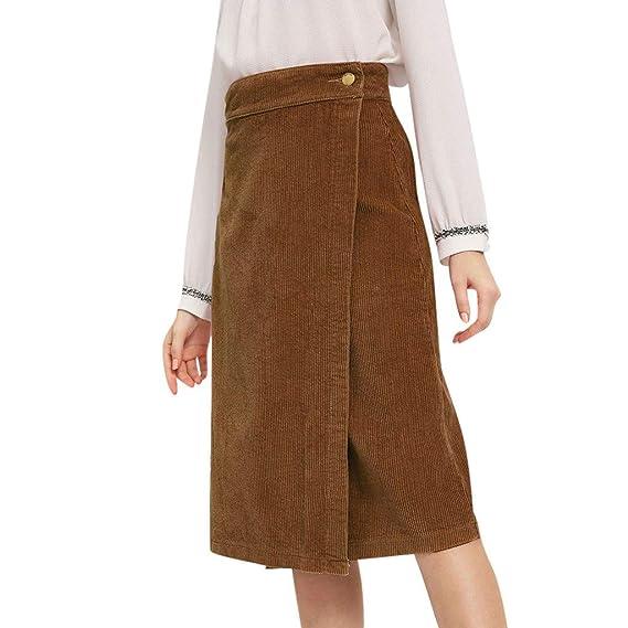 AOGOTO-Jupe Robe Falda Larga para Mujer, Color Liso, de Terciopelo ...
