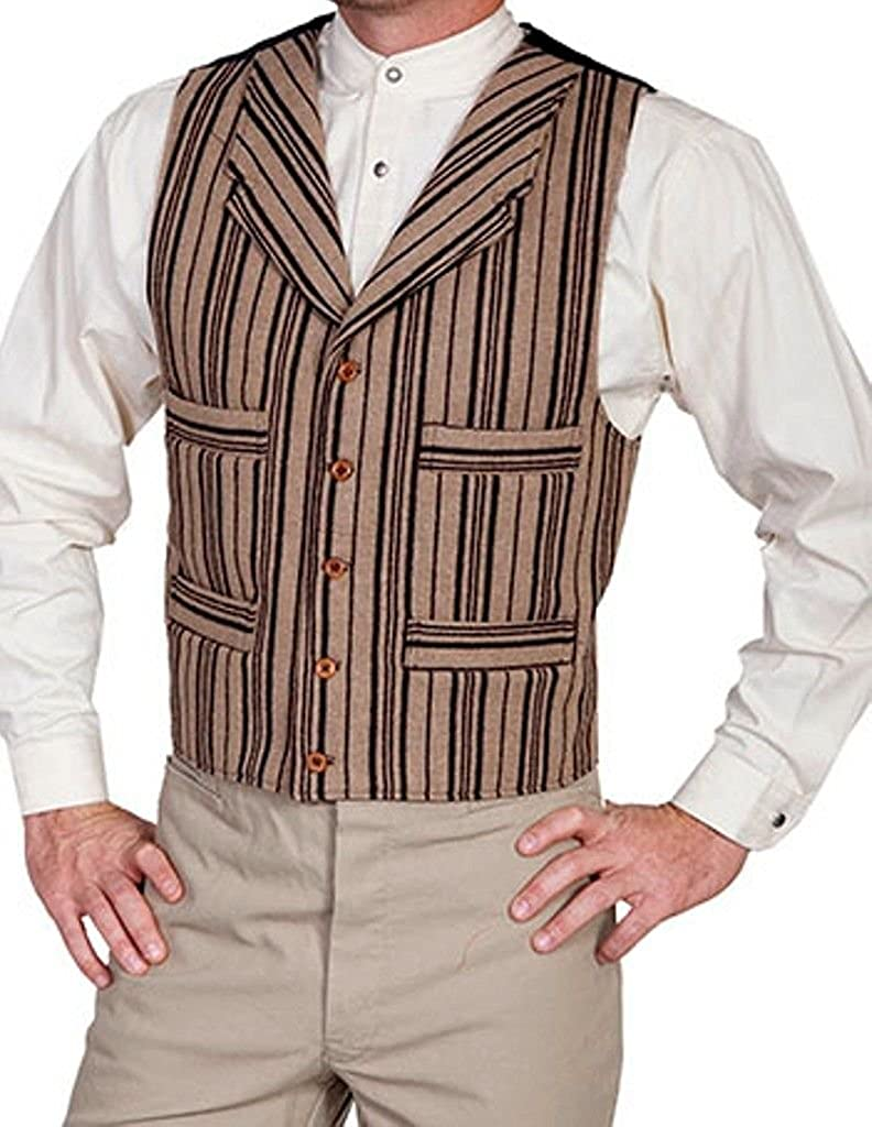 1900s Edwardian Men's Suits and Coats Wahmaker By Scully Mens Wahmaker Four Pocket Wool Blend Vest $79.85 AT vintagedancer.com