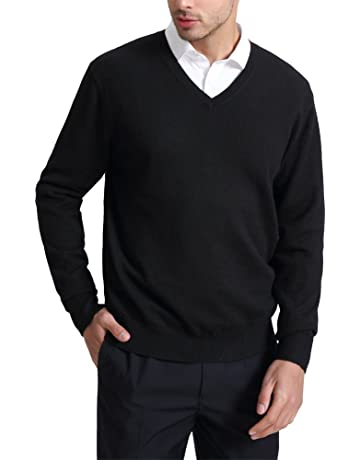 6a0e4f125 Kallspin Men's Cashmere Wool Blend Relaxed Fit V-Neck Sweater Pullover Long  Sleeve Jumper Sweater