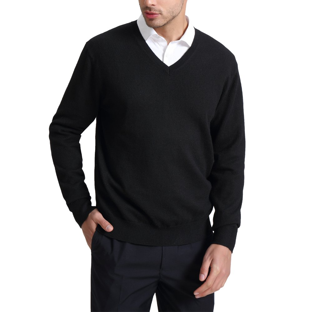 CHAUDER Wool V Neck Pullover Sweater Black (M, Black)
