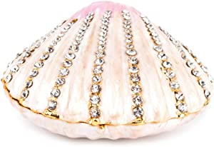 YU FENG Seashell Trinket Jewelry Boxes Hinged,Crystal Jeweled Sea Shell Figurine Collectible,Sea Animal Figures Decor Ornament