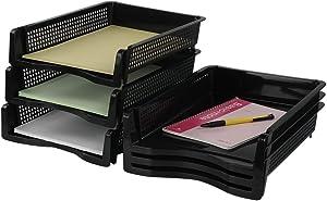 Ggbin 6-Tier Desktop Paper Dividers Plastic Office Desk Tray (Classic Black)