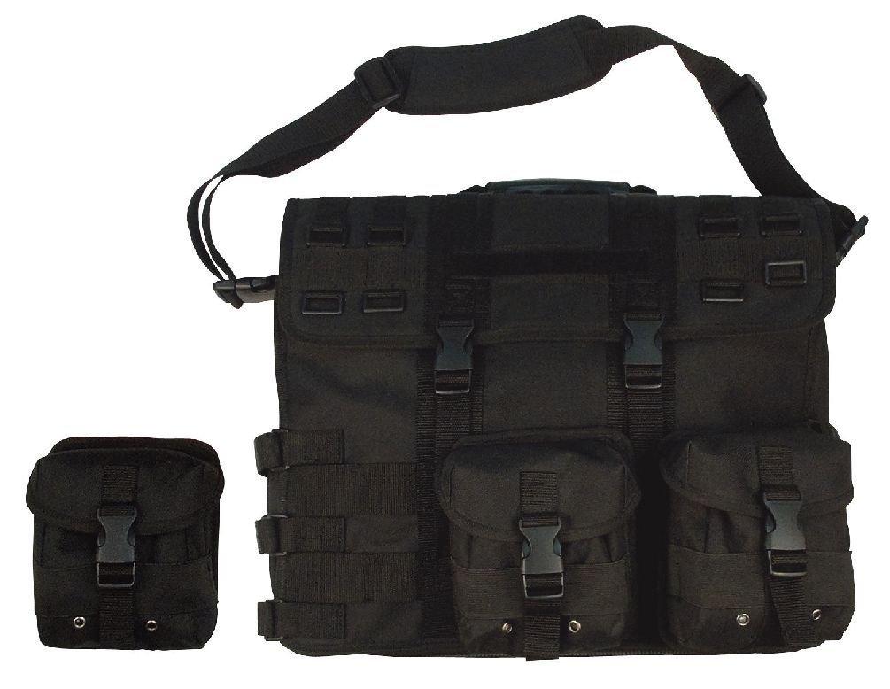 Molle Tactical Laptop Briefcase - Removable Pouches - Black Tan Foliage Acu