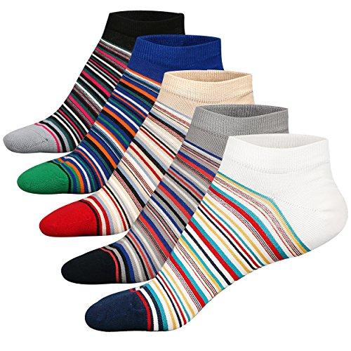 M&Z Mens Ankle Low Cut Socks Comfy Cotton Non-slip Moisture Control Socks 5Pack