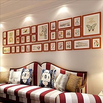 Amazon De Ckxk Bilderrahmen Viele Massivholz Fotowand Wohnzimmer