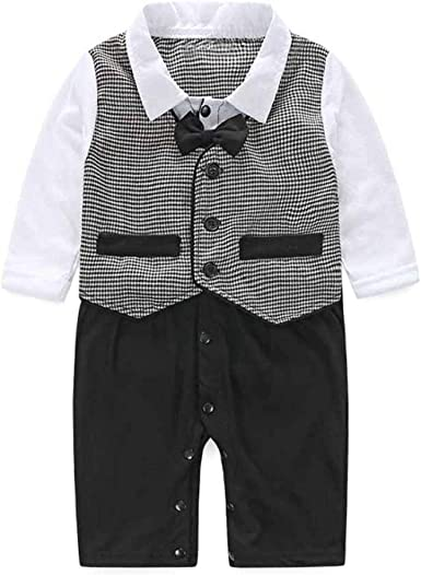 Baby Boy Wedding Formal Party Tuxedo Ruffle Suit Romper Outfit Clothes 3-24M
