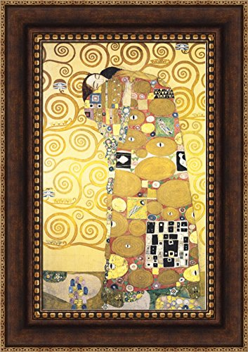 - Gustav Klimt Cartoon for the Frieze of the Villa Stoclet in Brussels Fulfillment Framed Canvas Giclee Print - Finished Size (W) 20'' x (H) 28.5'' [Bronze/Gold] (S09-02Q-MD804-80) - Enhanced Image