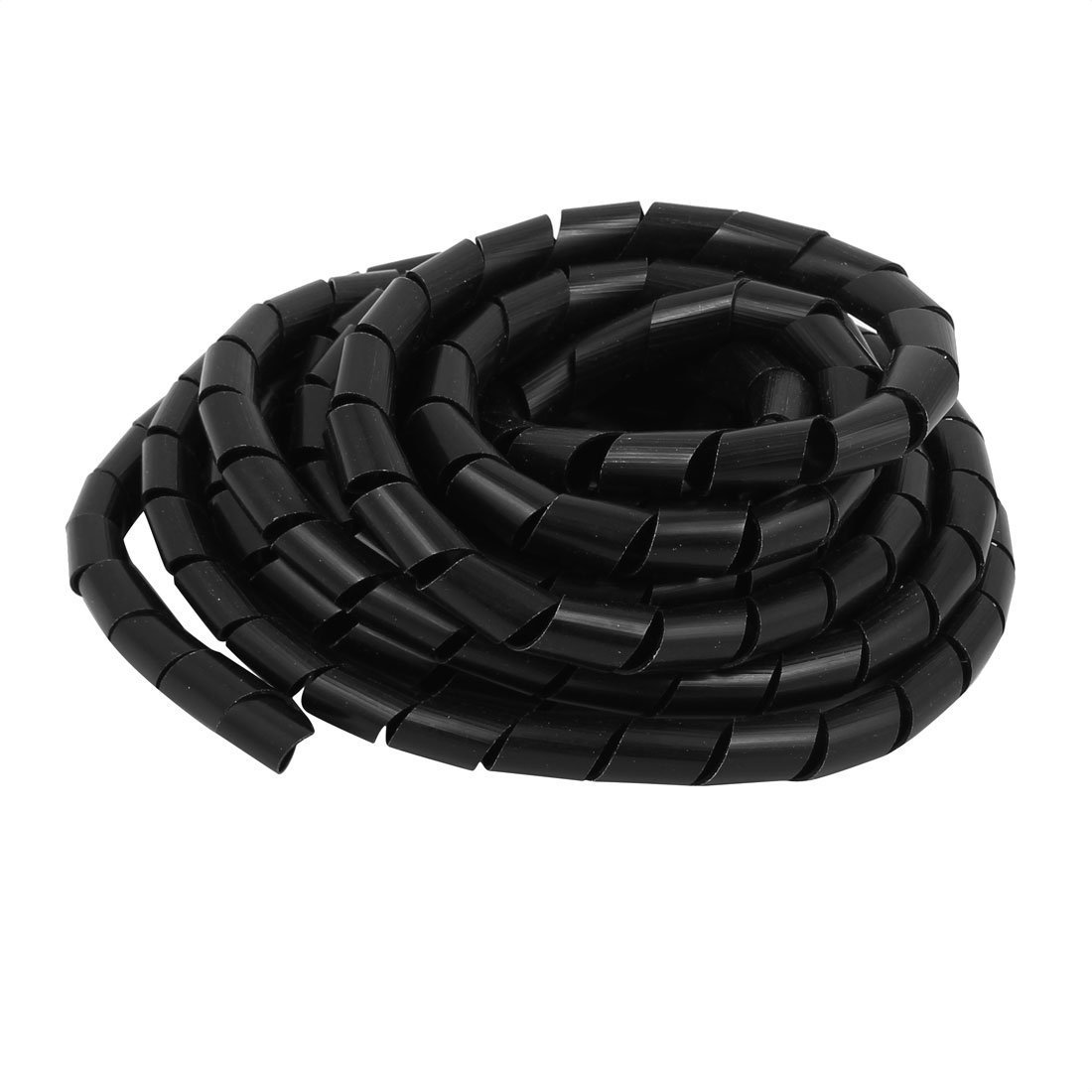 Portal Cool 16mm Dia 5M Length Cable Wire Tidy Wrap Spiral Wrapping Band Organizer Black