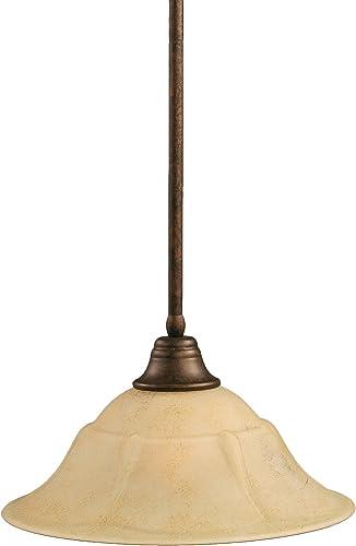 Toltec Lighting 26-BRZ-53618 Stem Pendant Light Bronze Finish with Italian Marble Glass Shade, 16-Inch