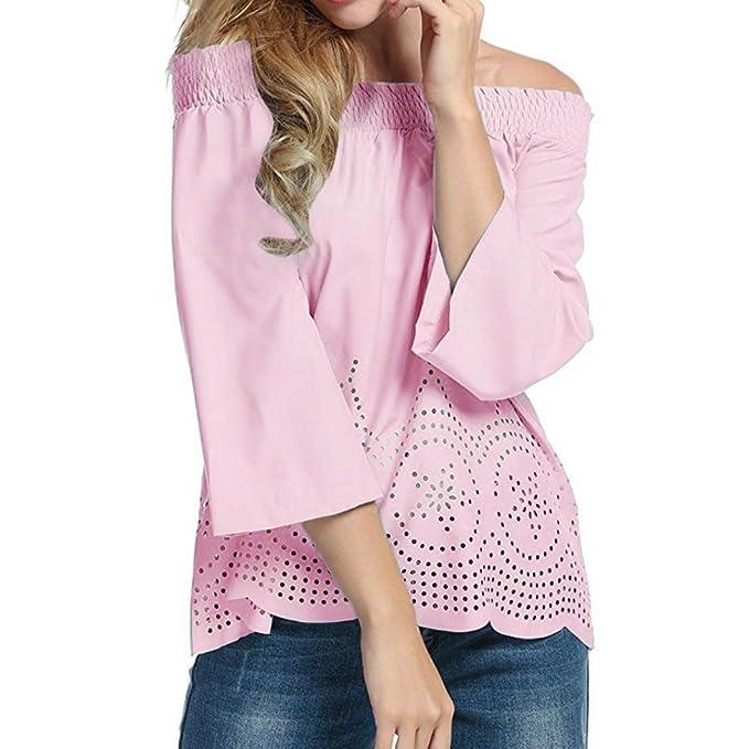 Landfox Las Mujeres Mangas Largas Off Hombro Blusa Casual Tops de La Camiseta Mezcla de Algodón