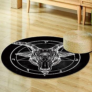 Amazon Com Round Rug Kid Carpet Pentagram With Demon
