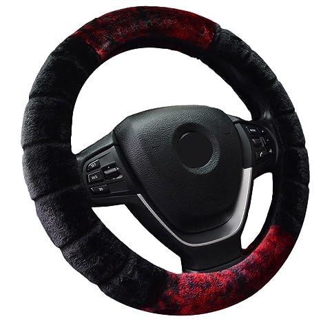 WINOMO 15 Plush Steering Wheel Cover Classic Comfy Black Car Wheel Protector
