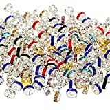 #8: Bememo 200 Pieces Rondelle Beads Spacer Beads Silver Plated Crystal Loose Beads for Jewelry Making, Mixed Colors