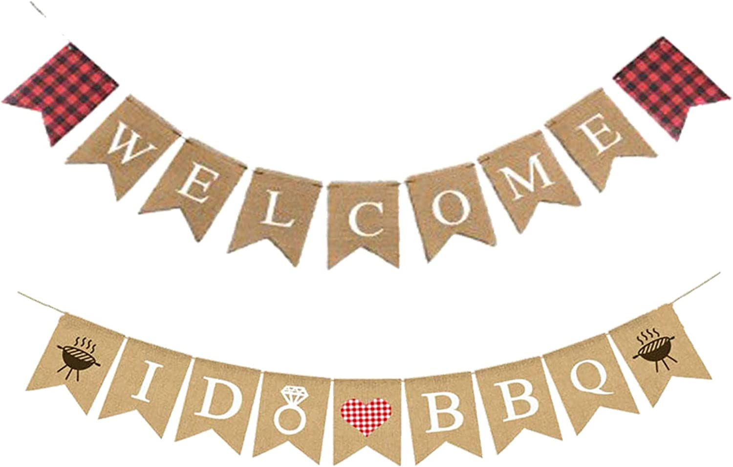 VIDELLY Jute Burlap Welcome Banner, I Do BBQ Banner Burlap with Grill BBQ Theme Picnic Party Banner Wedding Shower Bridal Shower Engagement Party Decoration Supply