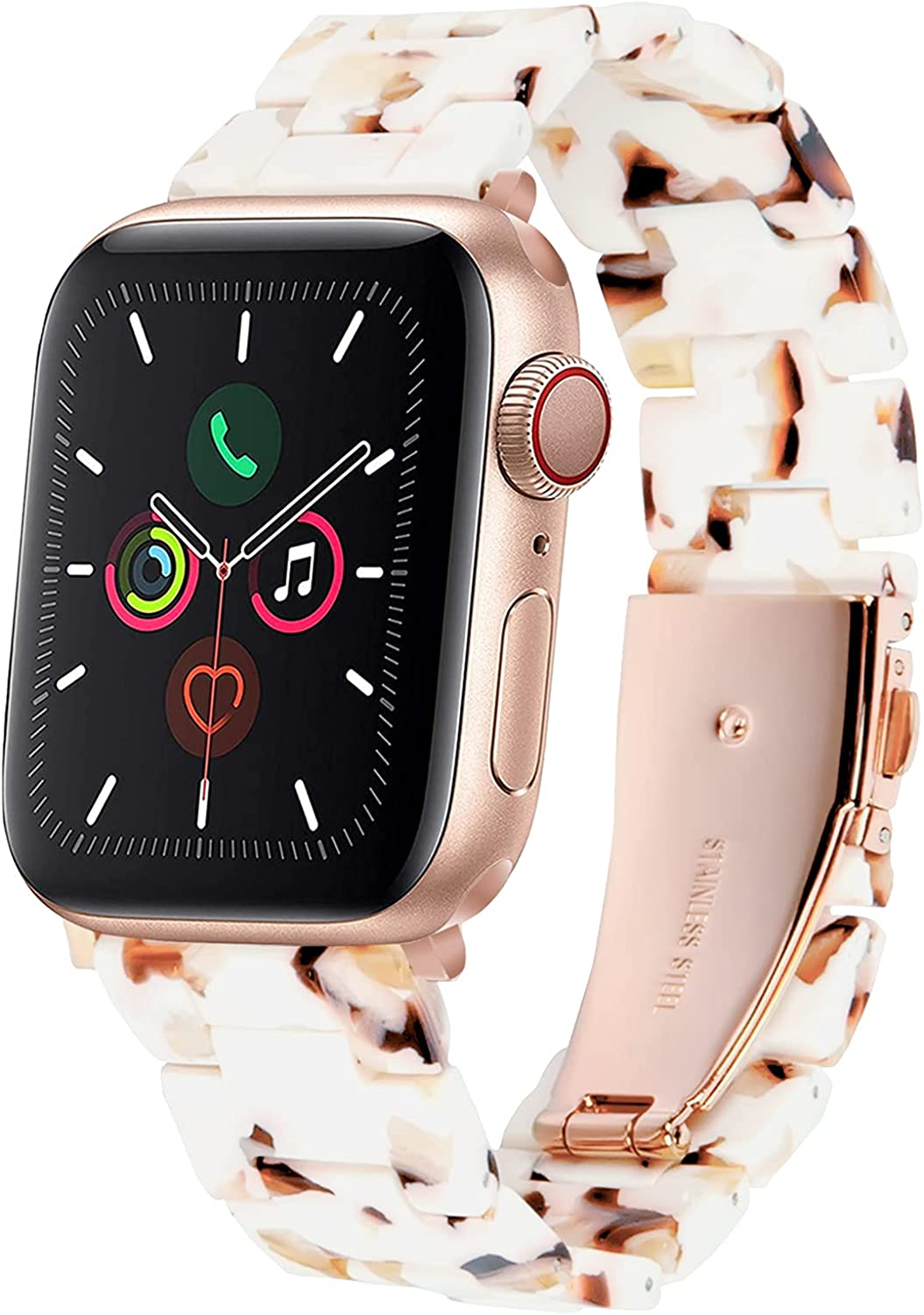 HOPO Compatible with Apple Watch Band 38mm 40mm 42mm 44mm Slim Resin Watch Strap Bracelet For Apple Watch Series 6 Replacement For iWatch Series 5/4/3/2/1/SE, Fashion Rose Gold Stainless Steel Buckle Adjustable
