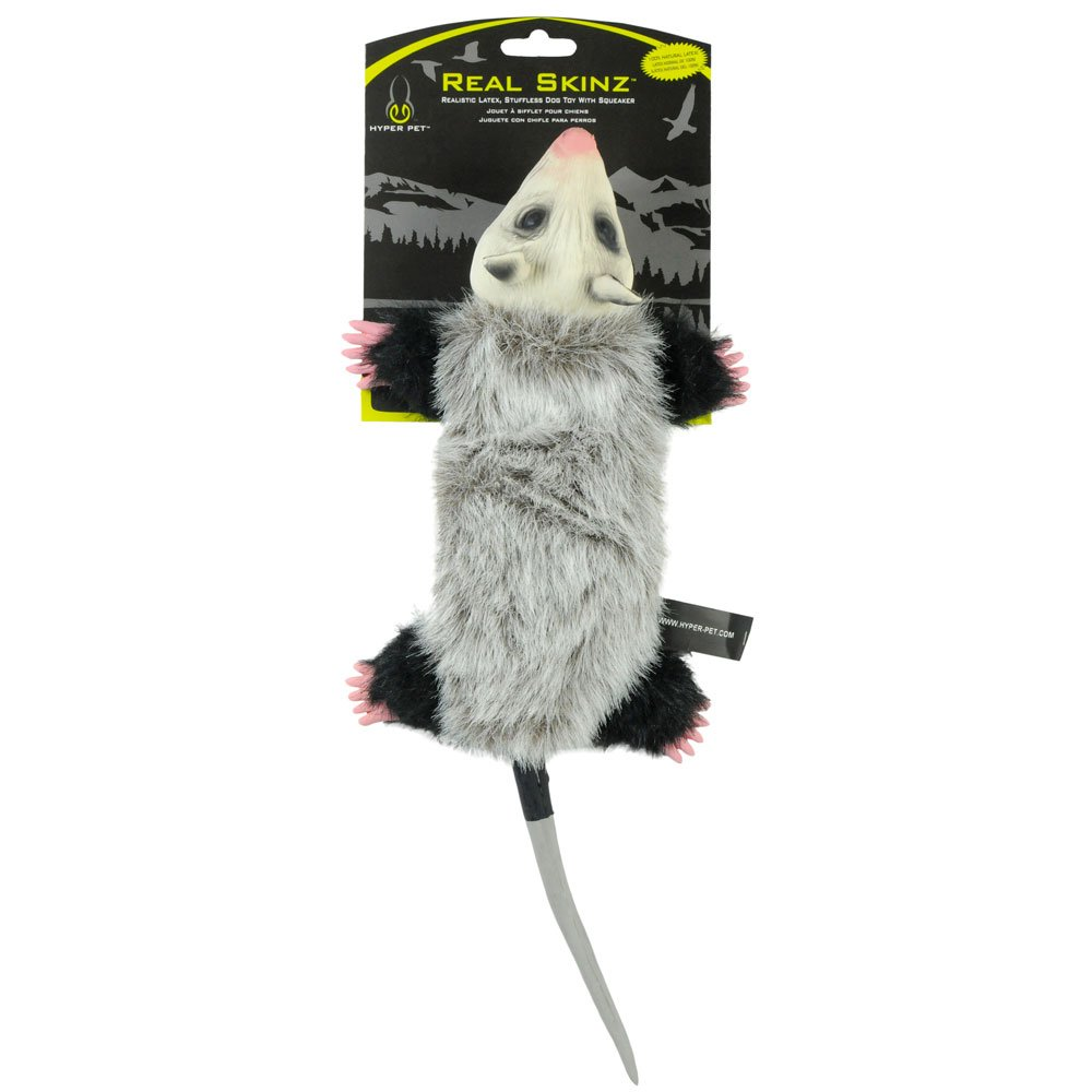 Hyper Pet Real Skinz Plush Dog Toy with Squeaker, Opossum