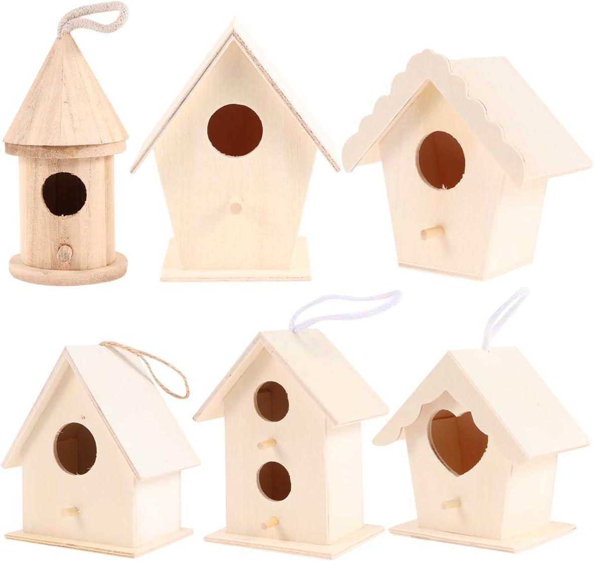 6 piezas DIY sin terminar simulación jaula de pájaros decoración de madera casa DIY juguetes educativos artesanales para el hogar Graffiti (estilo mixto)