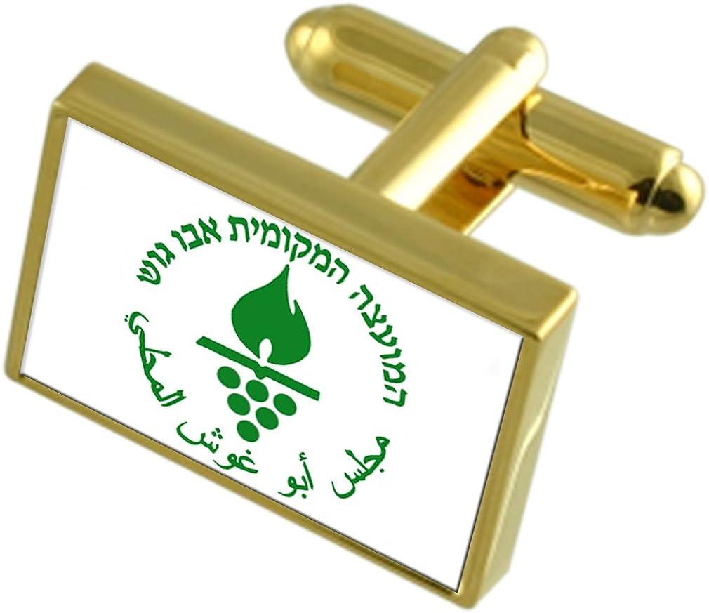 Abu Ghosh City Israel Gold-tone Flag Cufflinks Engraved Box