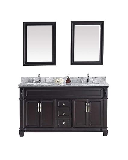 Virtu Usa Victoria 60 Inch Double Sink Bathroom Vanity Set In